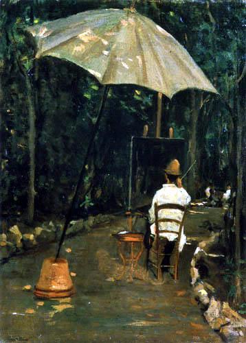 Silvestro Lega - Angiolo Tommasi beim Malen in einem Garten