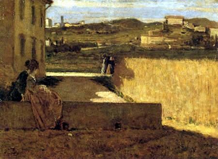 Silvestro Lega - Im Schatten des Landhauses