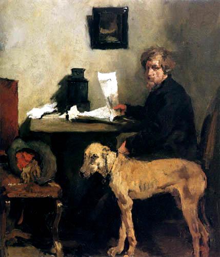 Wilhelm Leibl - Maler Sattler mit Dogge