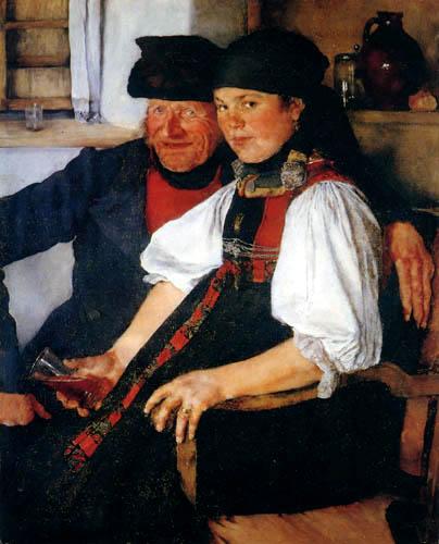 Wilhelm Leibl - A old farmer and a girl