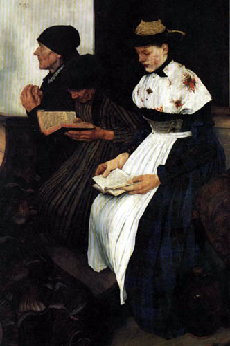 Wilhelm Leibl - Three women in the church