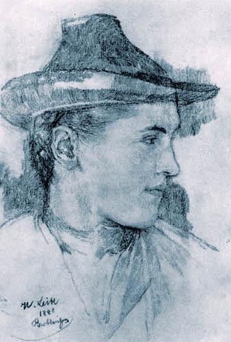 Wilhelm Leibl - Mädchenkopf mit Hut