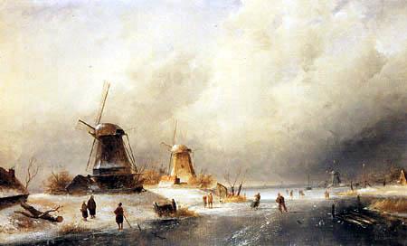 Charles Henri Joseph Leickert - Schlittschuhläufer auf einem Fluss bei einer Mühle