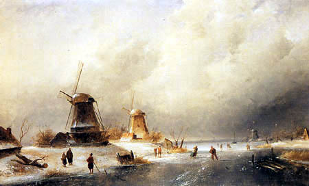 Charles Henri Joseph Leickert - Skaters on a frozen River near a Mill