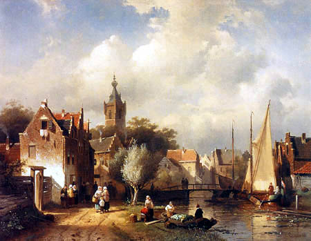 Charles Henri Joseph Leickert - A Townscene near a Canal