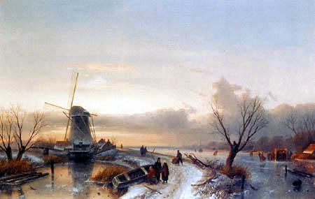 Charles Henri Joseph Leickert - A Winter Landscape with Skaters near a Windmill