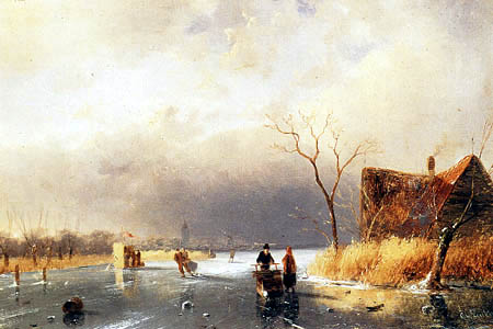 Charles Henri Joseph Leickert - A Winter Landscape with Skaters, Koek en Zopie