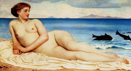 Frederic Leighton - Aktaia an der See mit Delphinen