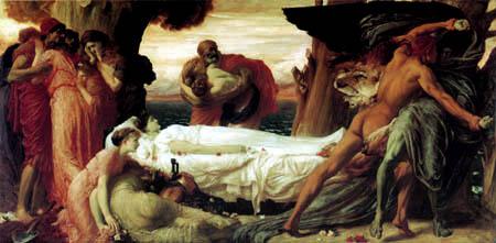 Frederic Leighton - Hercules Kampf mit dem Tod für Alcestis