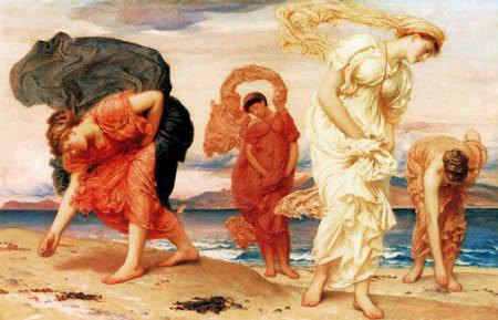 Frederic Leighton - Griechische Mädchen sammeln Muscheln