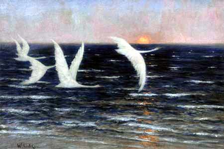 Walter Leistikow - Swans at Sunset