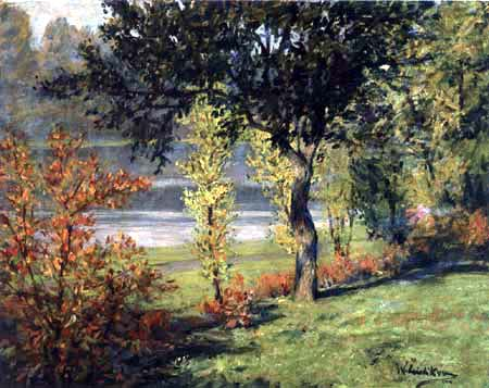 Walter Leistikow - Waterside scenery with trees and bushes