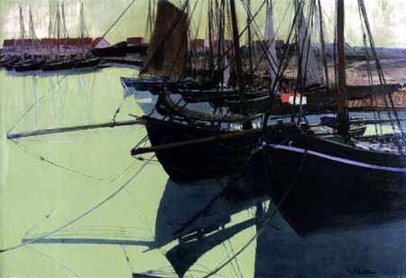 Walter Leistikow - Fischerboote im Hafen