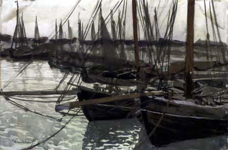 Walter Leistikow - Fishing boats in harbor