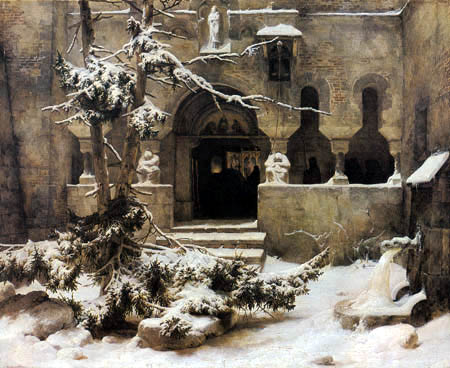 Karl Friedrich Lessing - Monastic yard in the snow