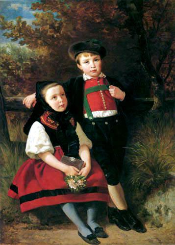 Emanuel Gottlieb Leutze - Kinder in schwäbischer Tracht