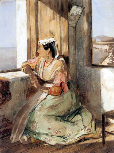 John Frederick Lewis - A Lady gazing over the Bay of Naples