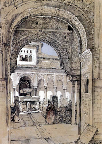John Frederick Lewis - The Court of the Lions, The Alhambra Granada
