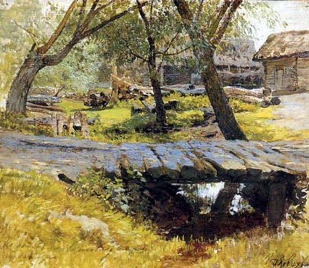 Isaak Iljitsch Lewitan - Kleine Brücke im Dorf Sawwinskaja Sloboda, Studie