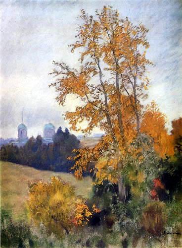 Isaak Iljitsch Lewitan - Autumn landscape with church