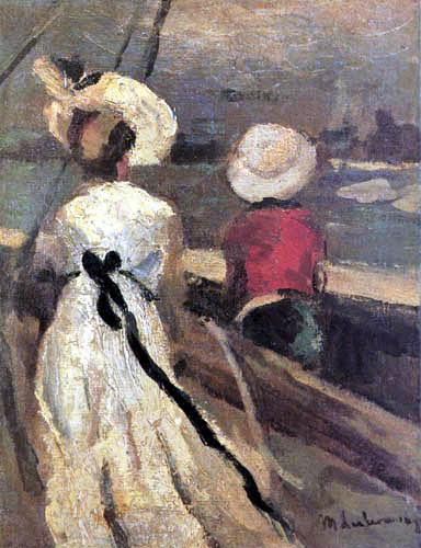 Max Liebermann - Mujer y niño en una barca