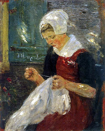 Max Liebermann - Stitching orphan girl