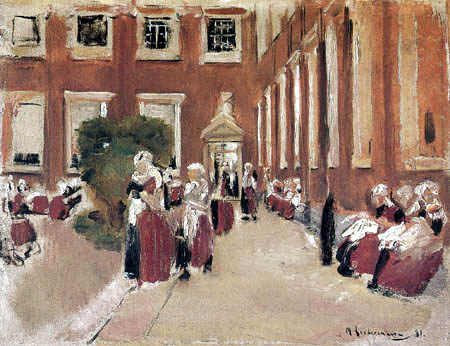 Max Liebermann - A courtyard of a orphanage, Amsterdam
