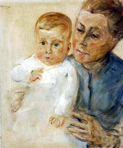 Max Liebermann - Enkelin auf dem Arm der Kinderfrau
