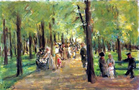 Max Liebermann - Walkers in a park of Berlin