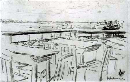 Max Liebermann - Terrasse des Restaurants Jakob an der Elbe