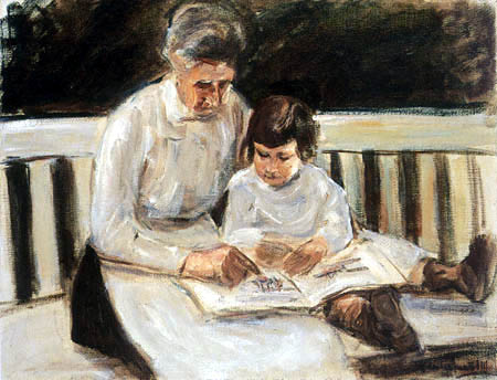 Max Liebermann - Granddaughter and nanny on the bench