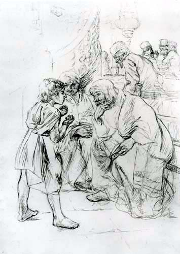 Max Liebermann - Jesus twelve years old in the temple, study