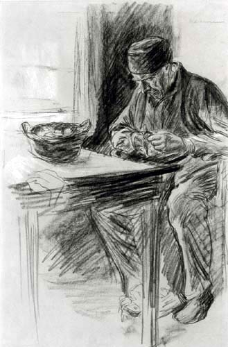 Max Liebermann - Man peeling potatoes
