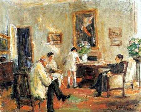 Max Liebermann - Der Künstler skizzierend im Kreis der Familie
