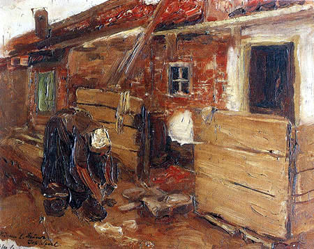 Max Liebermann - Dutch farmhouse with a woman