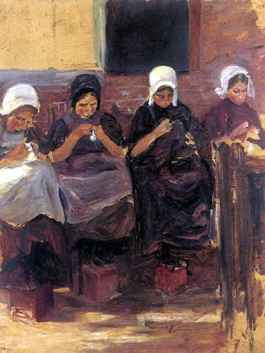 Max Liebermann - Sewing girls in Huyzen, study