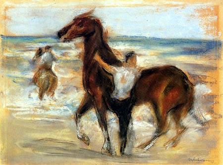 Max Liebermann - Horses at the beach