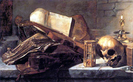 Jan Lievens (Livens) - Vanitas, Still life with books