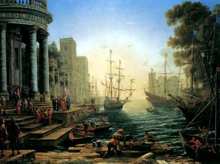 Claude Lorrain - Hafenszene, Aufbruch der hl. Ursula