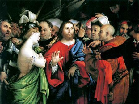 Lorenzo Lotto - Christus und die Ehebrecherin