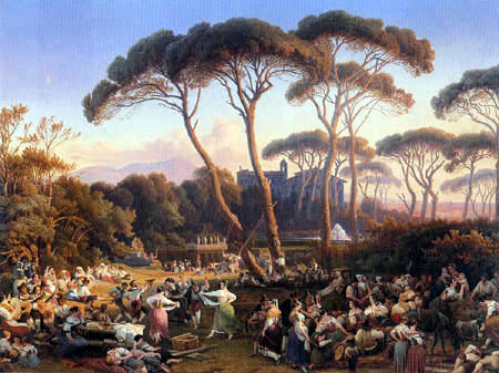 August Lucas - Roman people celebration in the Park of the Villa Borghese