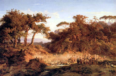 August Lucas - Italian landscape with flocks of sheep
