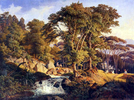 August Lucas - Italian landscape with torrent
