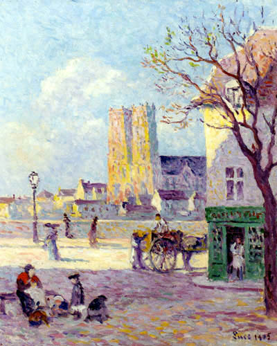 Maximilien Luce - The Cathedral of Sainte Croix, Rue de la Place de la Bascule in Orleans