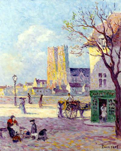 Maximilien Luce - Die Kathedrale Sainte Croix, Rue de la Place de la Bascule in Orleans