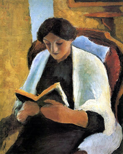 August Macke - Reading woman