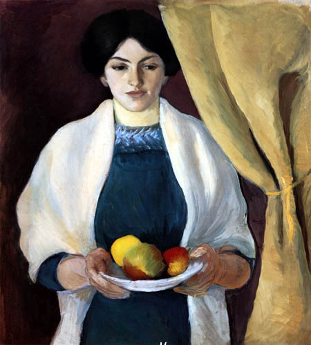 August Macke - Wife of painter with apples