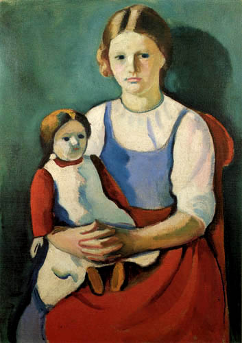 August Macke - A blond girl with a doll