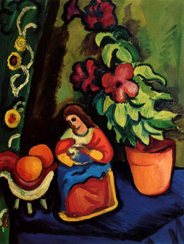 August Macke - Still Life with Madonna figure, Petunia and apples