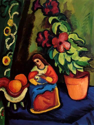 August Macke - Stillleben mit Madonna, Petunie und Äpfeln